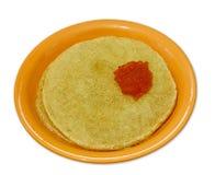 Wheat pancakes and  salmon caviar on white Stock Photo