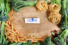 Wheat pasta frame Royalty Free Stock Image