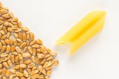 Wheat and pasta on  white background Stock Photos