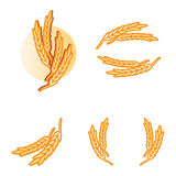 Wheat products logo elements. Illustration of wheat springs as logo design elements for food products and pizza or rice, pasta goods,  vector Stock Images