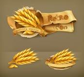 Wheat, retro vector icons Royalty Free Stock Photo