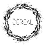 Wheat, rye, barley and malt round frame stock illustration