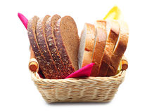Wheat and rye bread in a basket Stock Image