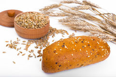 Wheat rye bread with flax seeds, chia, sesame Stock Images