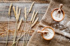 Wheat and rye ear for flour production on wooden desk background top view Royalty Free Stock Photography