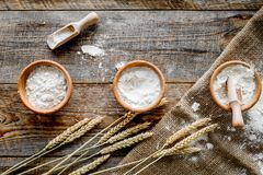 Wheat and rye ear for flour production on wooden desk background top view Stock Photography