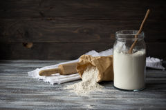 Wheat and rye flour for baking bread. On wooden table, selective focus Royalty Free Stock Images