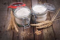 Wheat and rye flour Royalty Free Stock Photography