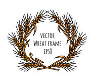 Wheat rye frame wreath isolate object. Royalty Free Stock Photo