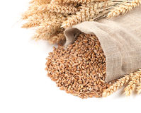Wheat in a sack and ears on a white background isolated Stock Photos