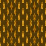 Wheat seamless pattern. Stylized elegant linear ears golden on white color, backgrond with wheat, grain harvest ears bread autumn vector illustration