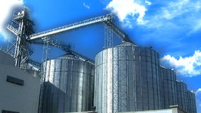 Wheat silo and cloud timelapse stock footage