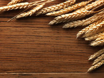 Wheat spikes on wooden board Royalty Free Stock Images