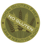 Wheat Stalk 100% Gluten Free Label. Wheat Grain Stalk with 100% Gluten Free Label Illustration Royalty Free Stock Image