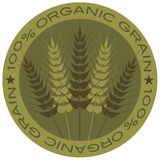 Wheat Stalk 100% Organic Grain Label Royalty Free Stock Photos