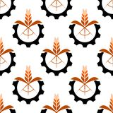 Wheat stalk and gear wheel seamless pattern Royalty Free Stock Photo