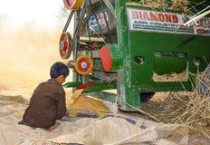 Wheat threshing Royalty Free Stock Images