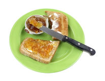 Wheat Toast with Orange Marmalade Royalty Free Stock Photos