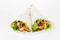Wheat tortilla with chicken and vegetables Royalty Free Stock Images