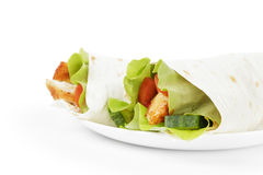 Wheat tortilla with chicken and vegetables Stock Photos