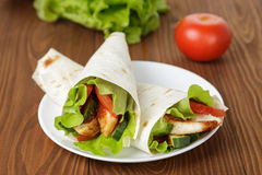 Wheat tortilla with chicken and vegetables Royalty Free Stock Photos