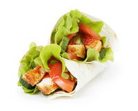 Wheat tortilla with chicken and vegetables Stock Photography