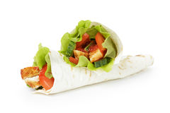 Wheat tortilla with chicken and vegetables Stock Images