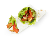 Wheat tortilla with chicken and vegetables Royalty Free Stock Photography