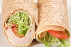 Wheat turkey wrap. Great flavor meal made with smoked turkey fresh vegetables and wheat wrap Stock Images