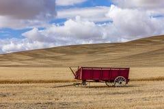 Wheat wagon in the field. Stock Photo