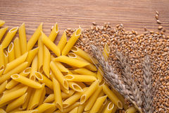 Wheat and whole wheat penne rigate pasta Stock Photography