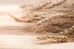 Wheat on wood stock image