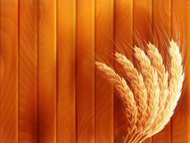 Wheat on wooden autumn background. EPS 10. Vector file included Royalty Free Stock Photo