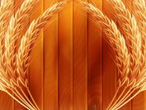 Wheat on wooden autumn background. EPS 10. Vector file included Stock Photo