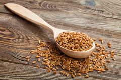 Wheat in wooden spoon on old boards Royalty Free Stock Photography