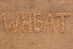 Wheat word written on sackcloth Stock Images