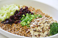 Wheatberry salad ingredients in bowl Stock Photography