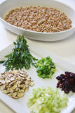 Wheatberry salad ingredients vertical Stock Images