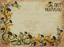 Wheaten cornflower banner in art nouveau style. Vector illustration