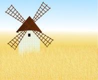 Wheaten gebied met een molen Stock Foto's