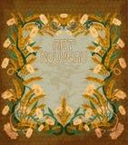 Wheaten invitation card art nouveau style, vector. Illustration