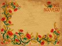 Wheaten poppies banner in art nouveau style, vector. Illustration