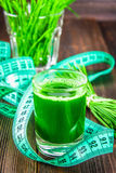 Wheatgrass射击 从麦子草的汁液 健康趋向  免版税图库摄影