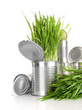 Wheatgrass in aluminum cans on white Royalty Free Stock Images