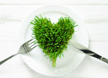 Wheatgrass heart Stock Images