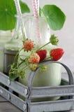 Wheatgrass smoothie with nasturtium and strawberries Stock Photo