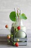 Wheatgrass smoothie with nasturtium and strawberries Stock Photos