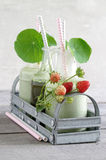 Wheatgrass smoothie with nasturtium and strawberries Stock Image