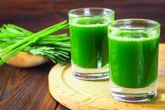 Wheatgrassschot Sap van tarwegras Tendens van gezondheid Royalty-vrije Stock Afbeeldingen