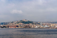 Wheather event: Naples from the sea in bad weather Stock Photo